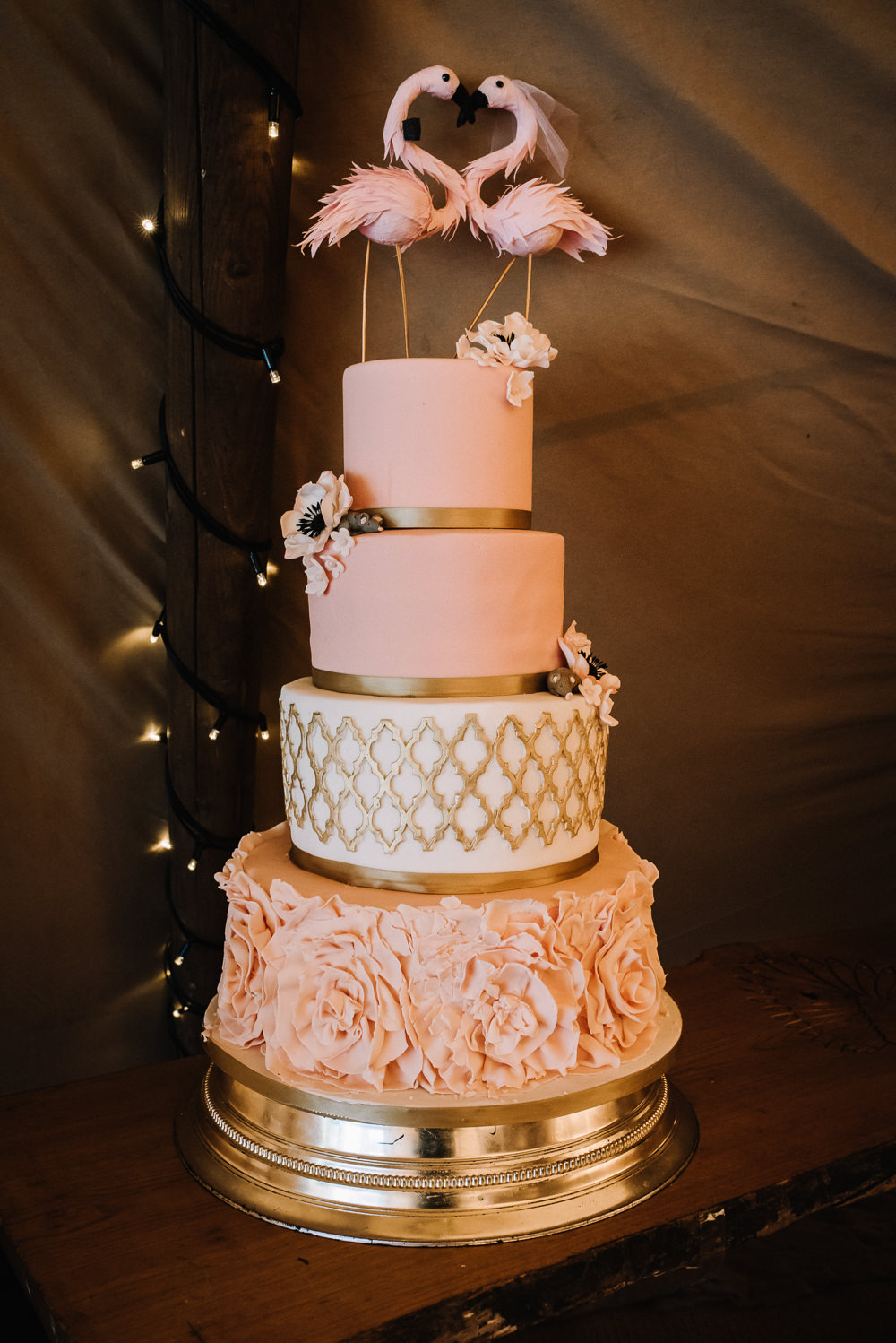 Flamingo Pink Gold Cake Alcott Weddings Oobaloos Photography