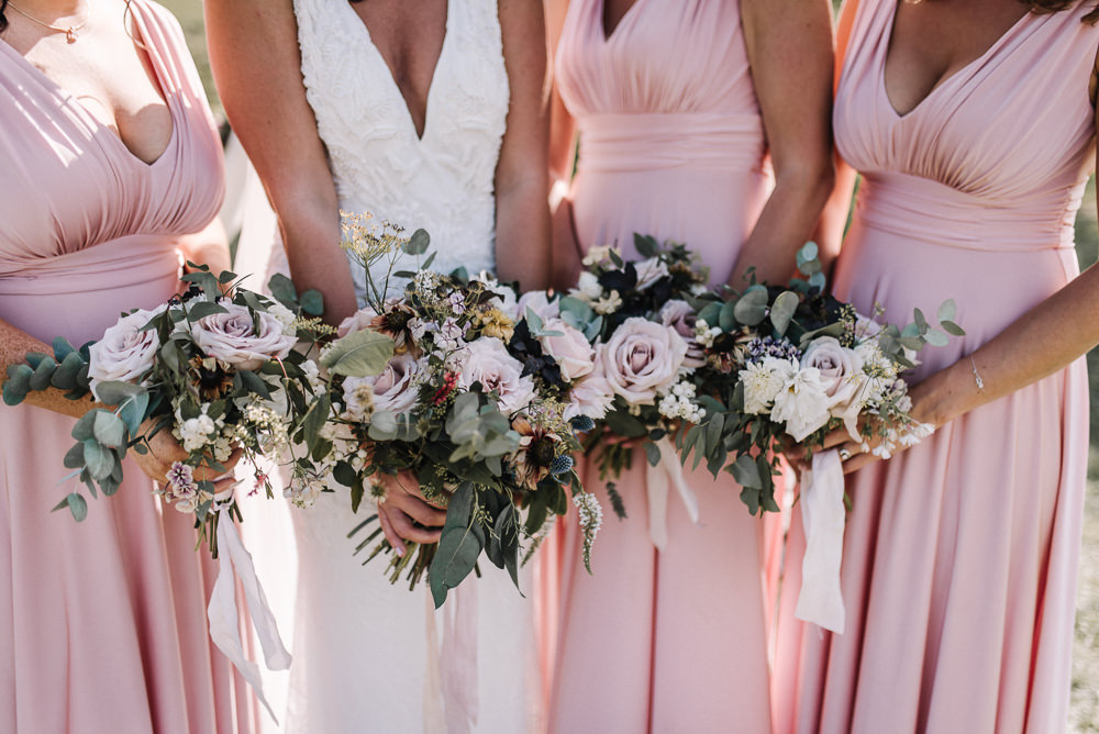 Bouquet Flowers Bride Bridal Blush Dahlia Thistle Ribbons Bridesmaids Alcott Weddings Oobaloos Photography