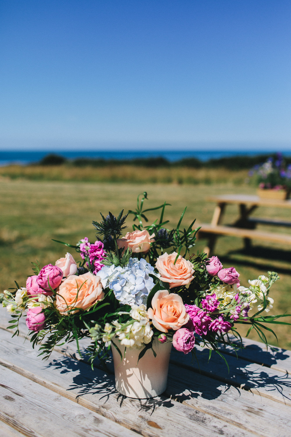 Flowers Floral Thistle Sea Holly Peach Rose Pink Blue Bach Wen Farm Wedding Jessica O'Shaughnessy Photography