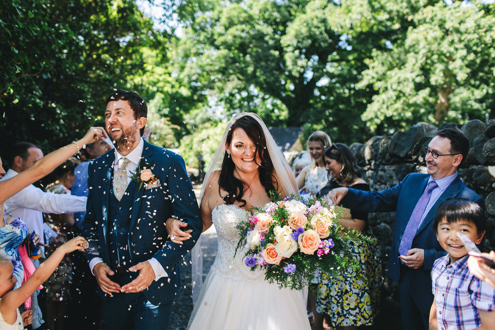 Bride Bridal Separates Sweetheart Neckline Strapless Tulle Floor Length Veil Colourful Multicolour Bouquet Three Piece Waistcoat Groom Confetti Bach Wen Farm Wedding Jessica O'Shaughnessy Photography