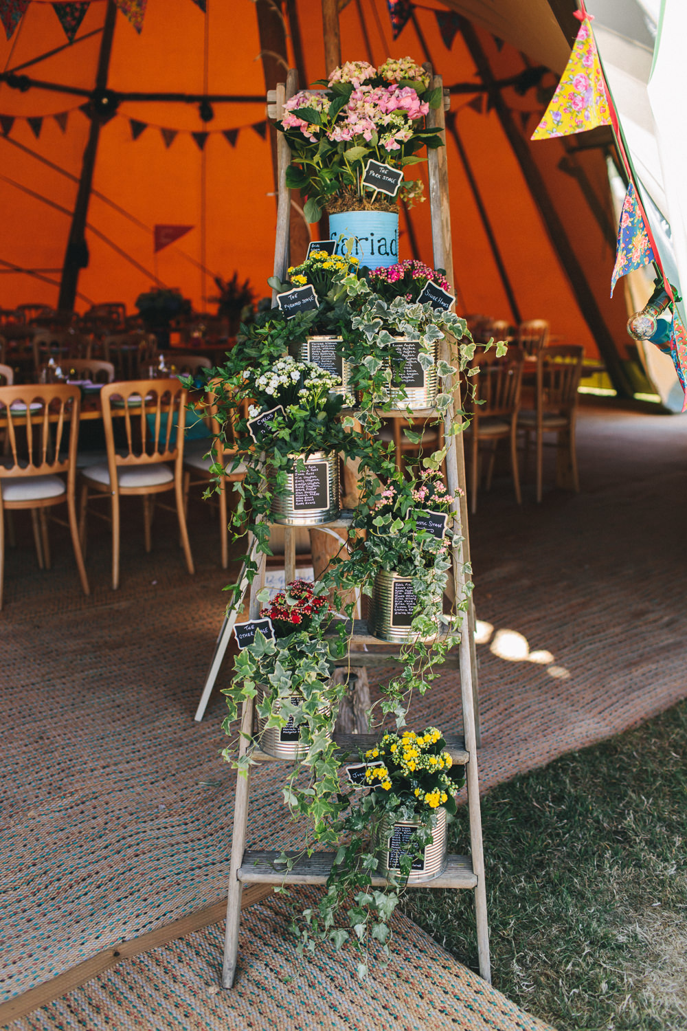 Stepladder Table Plan Ivy Chalk Tin Floral Flowers Plants Bach Wen Farm Wedding Jessica O'Shaughnessy Photography