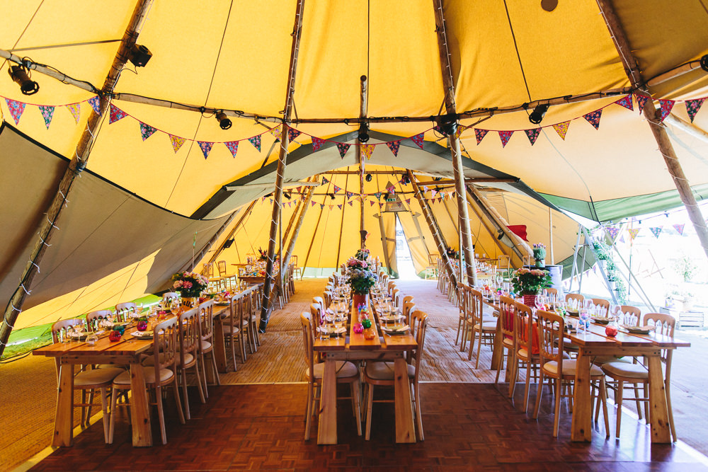 Tipi Banquet Table Trestle Butning Bach Wen Farm Wedding Jessica O'Shaughnessy Photography