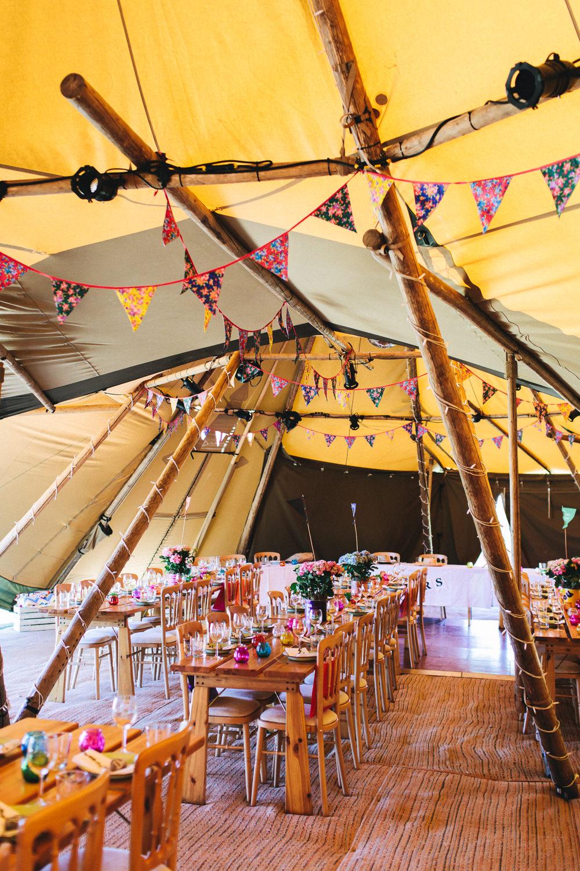 Tipi Festival Bunting Bach Wen Farm Wedding Jessica O'Shaughnessy Photography