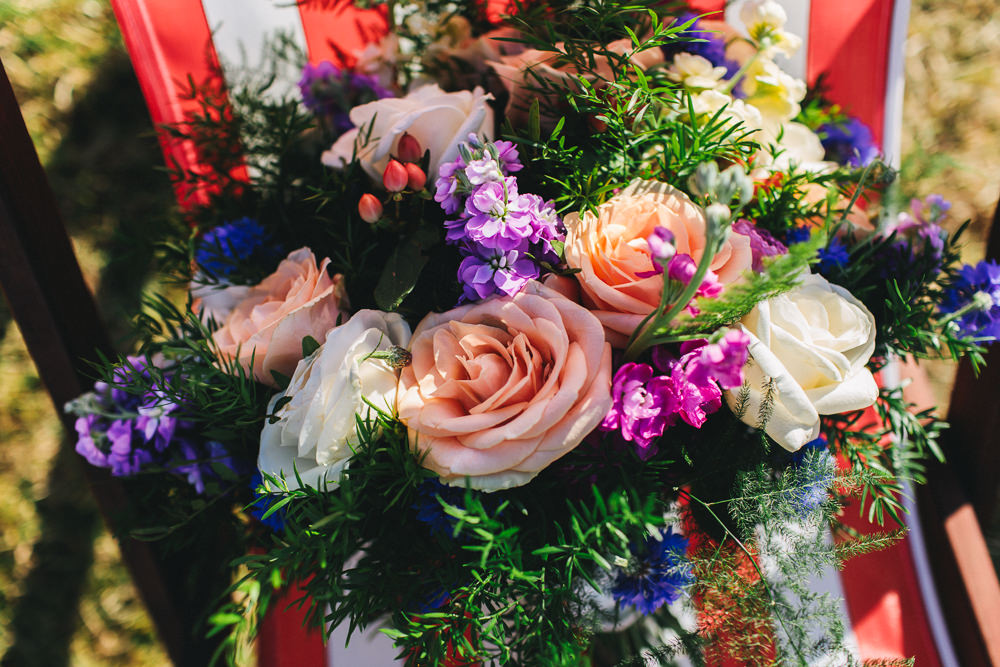 Bride Bridal Bouquet Peach Rose Purple Multicoloured Bach Wen Farm Wedding Jessica O'Shaughnessy Photography