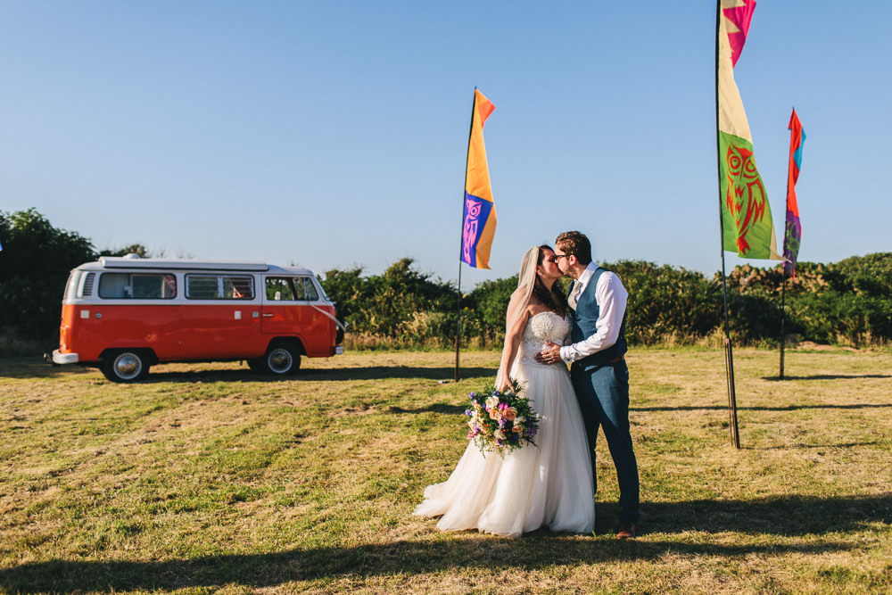 Bride Bridal Separates Sweetheart Neckline Strapless Tulle Floor Length Veil Three Piece Waistcoat Groom VW Camper Van Bach Wen Farm Wedding Jessica O'Shaughnessy Photography