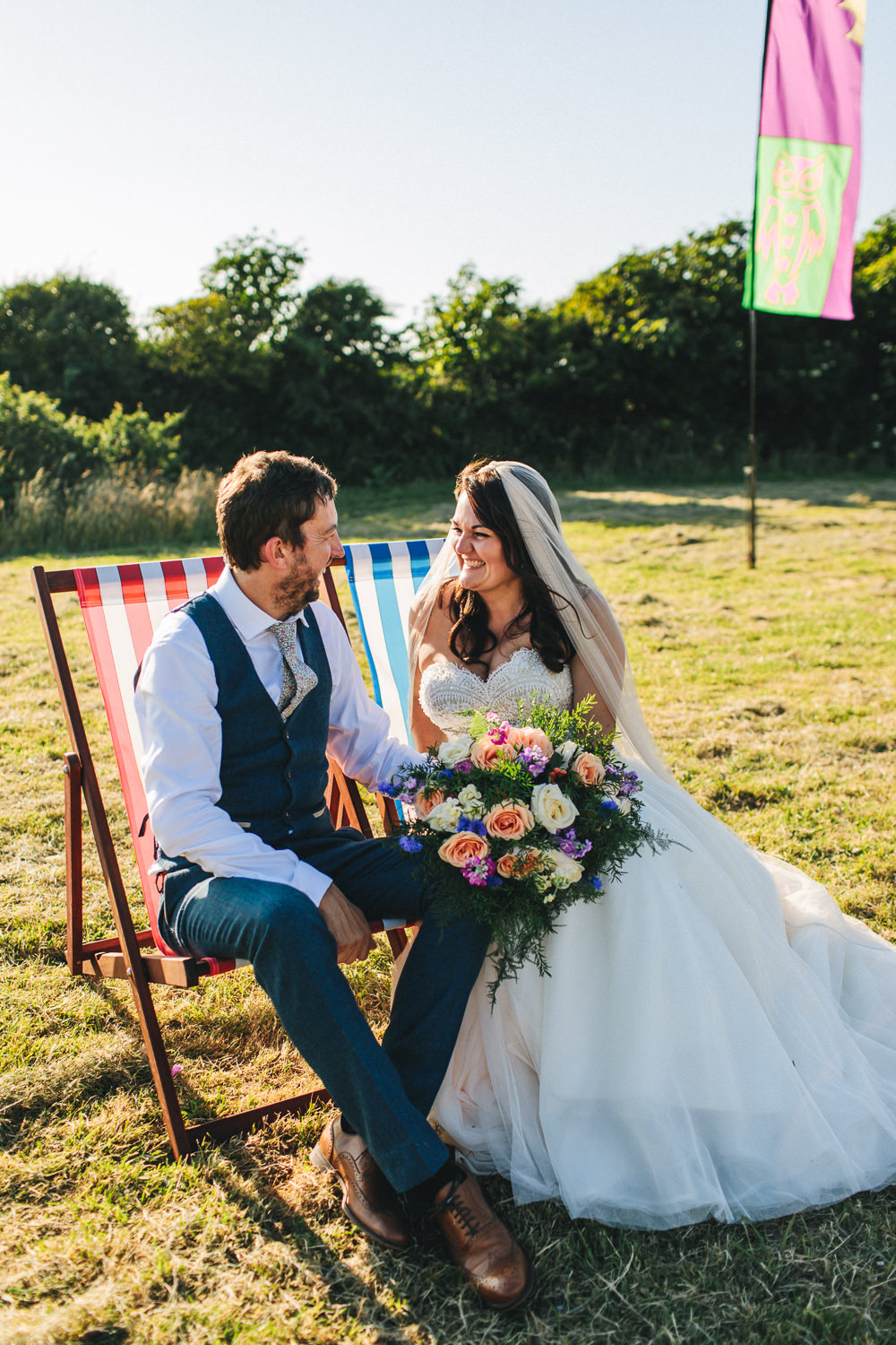 Bride Bridal Separates Sweetheart Neckline Strapless Tulle Floor Length Veil Colourful Multicolour Bouquet Waistcoat Groom Bach Wen Farm Wedding Jessica O'Shaughnessy Photography