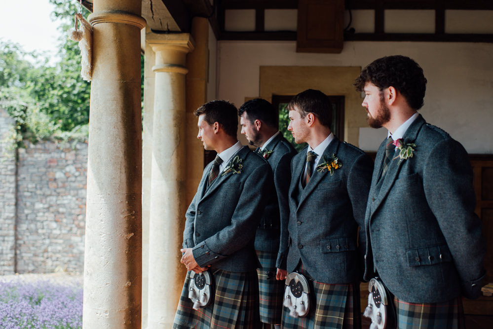 Groom Kilt Jacket Tie Groomsmen Tartan Barley Wood House Wedding The Shannons Photography