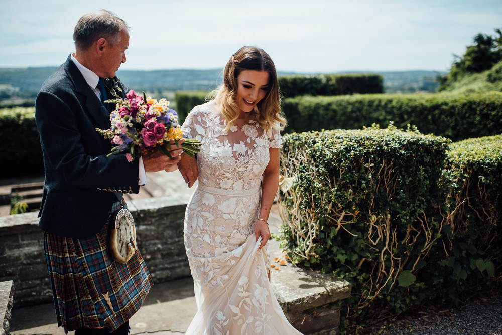 Dress Gown Bride Bridal Cap Sleeves Embroidered Personalised Floral Applique Hermione de Paula Train Veil Barley Wood House Wedding The Shannons Photography