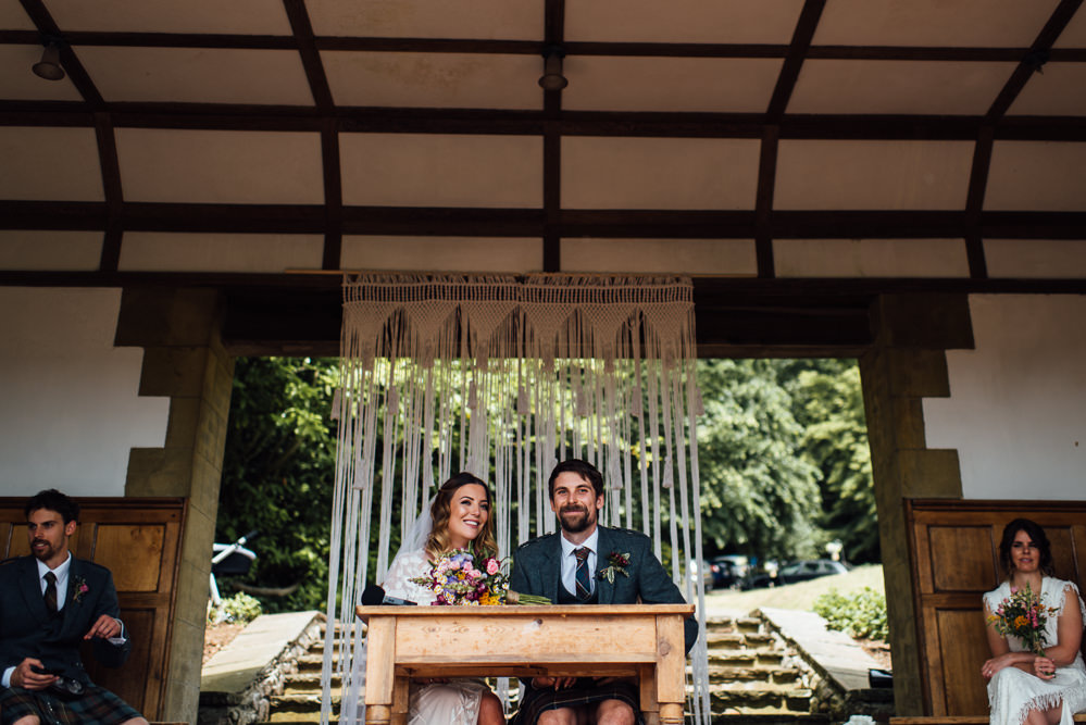 Macrame Backdrop Ceremony Barley Wood House Wedding The Shannons Photography