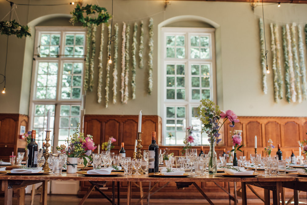 Decor Reception Venue Paper Coffee Filter Backdrop Garland Decorations Barley Wood House Wedding The Shannons Photography
