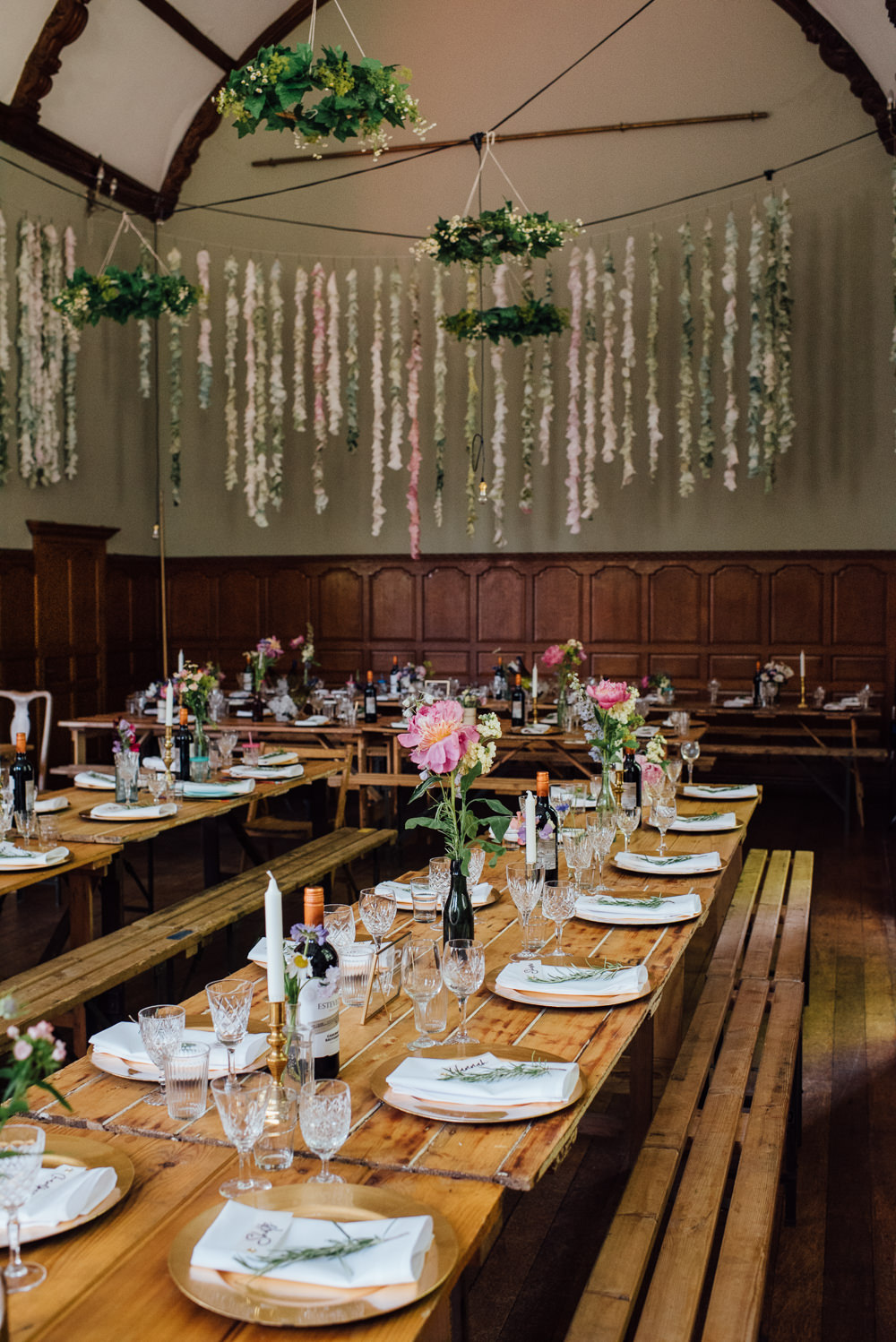 Decor Reception Venue Paper Coffee Filter Backdrop Garland Decorations Long Tables Barley Wood House Wedding The Shannons Photography