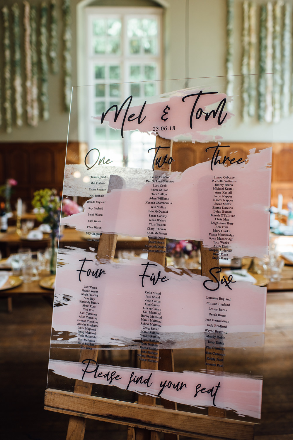 Perspex Acrylic Glass Table Plan Seating Chart Brush Paint Pink Calligraphy Modern Barley Wood House Wedding The Shannons Photography