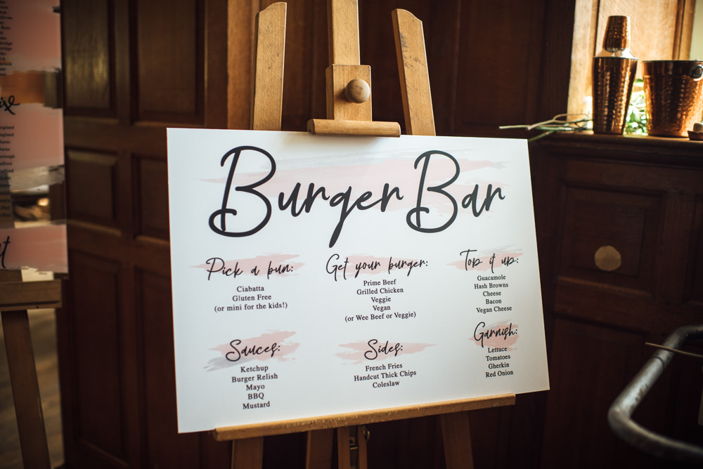 Bar Burger Food Menu Sign Barley Wood House Wedding The Shannons Photography