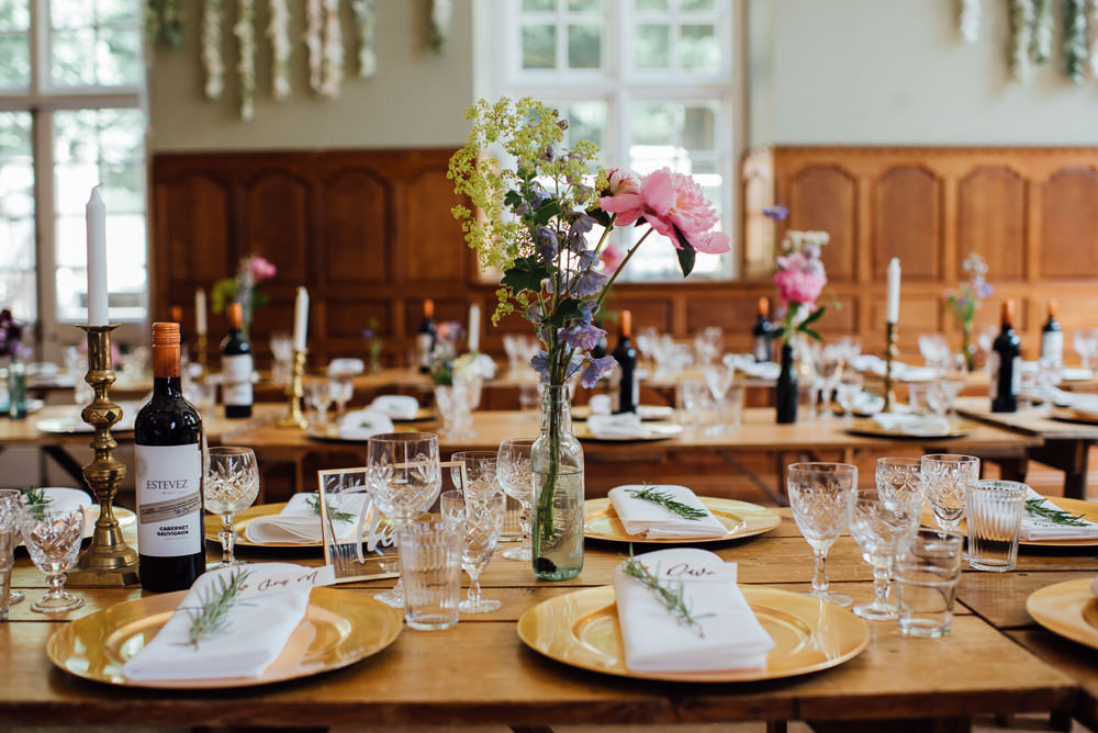 Flowers Bottles Wild Colourful Meadow Peony Daisy Table Decor Barley Wood House Wedding The Shannons Photography