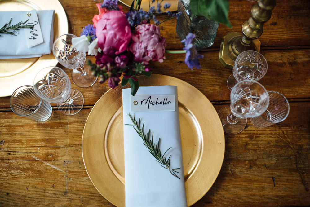 Gold Plates Place Settings Watercolour Brush Place Names Calligraphy Rosemary Glass Acrylic Table Name Sign Barley Wood House Wedding The Shannons Photography