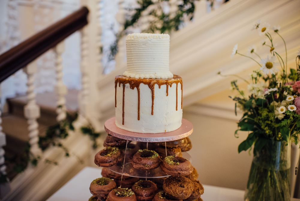 Vegan Drip Cake Donuts Buttercream Barley Wood House Wedding The Shannons Photography
