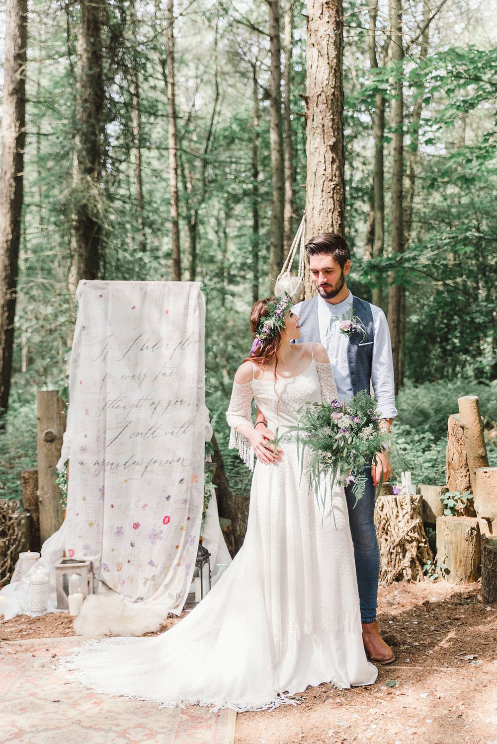 Outdoor Ceremony Words Script Backdrop Paper Scroll Banner Persian Rug Aisle Boho Woodland Wedding Ideas Camp Katur Emily Olivia Photography