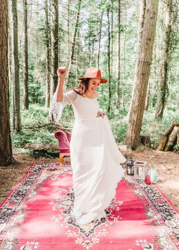 Fedora Hat Accessory Bride Bridal Gown Dress Fringed Tassel Bohemian Sleeves Train Boho Woodland Wedding Ideas Camp Katur Emily Olivia Photography