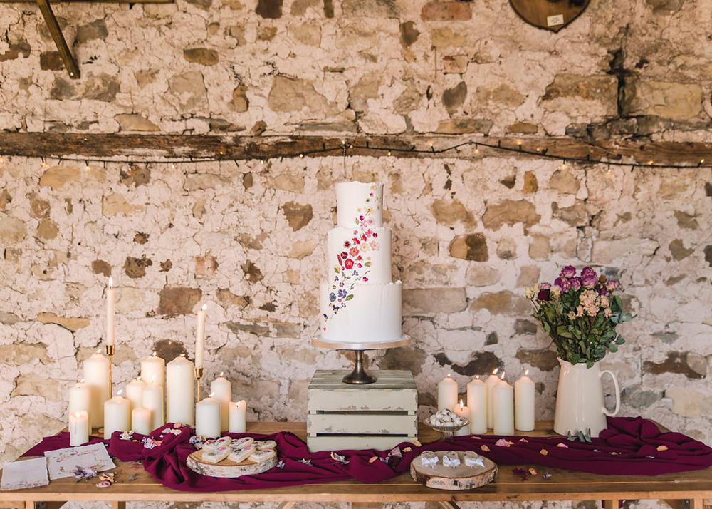 Cake Table Petals Pressed Flowers Pretty Crate Candles Boho Woodland Wedding Ideas Camp Katur Emily Olivia Photography