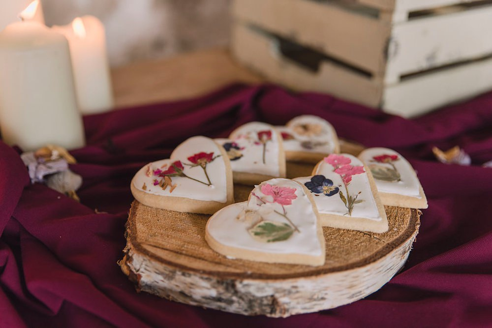 Heart Cookies Flowers Boho Woodland Wedding Ideas Camp Katur Emily Olivia Photography