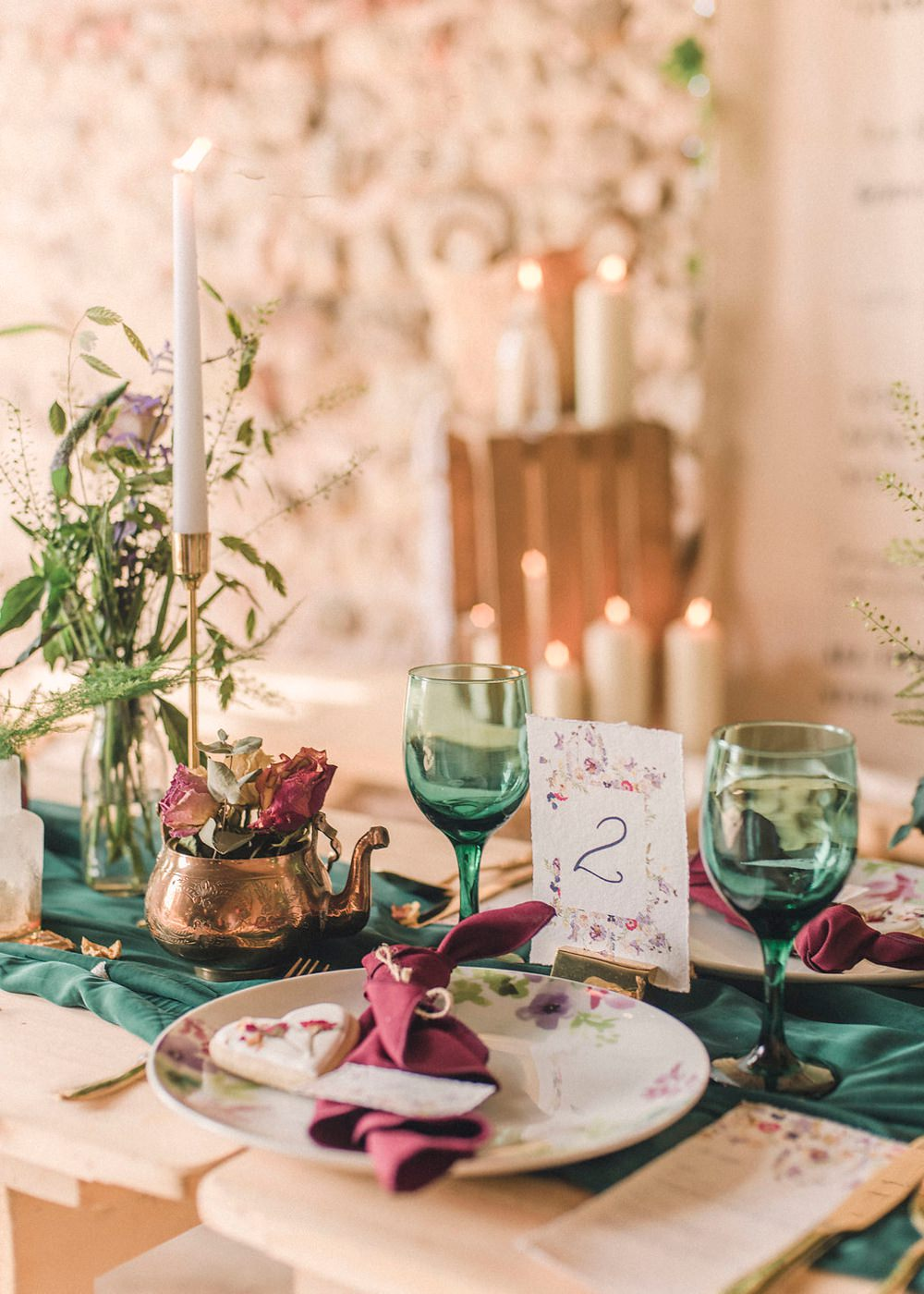 Place Setting Table Decor Napkin Floral Plates Heart Cookie Favours Green Linen Runner Boho Woodland Wedding Ideas Camp Katur Emily Olivia Photography