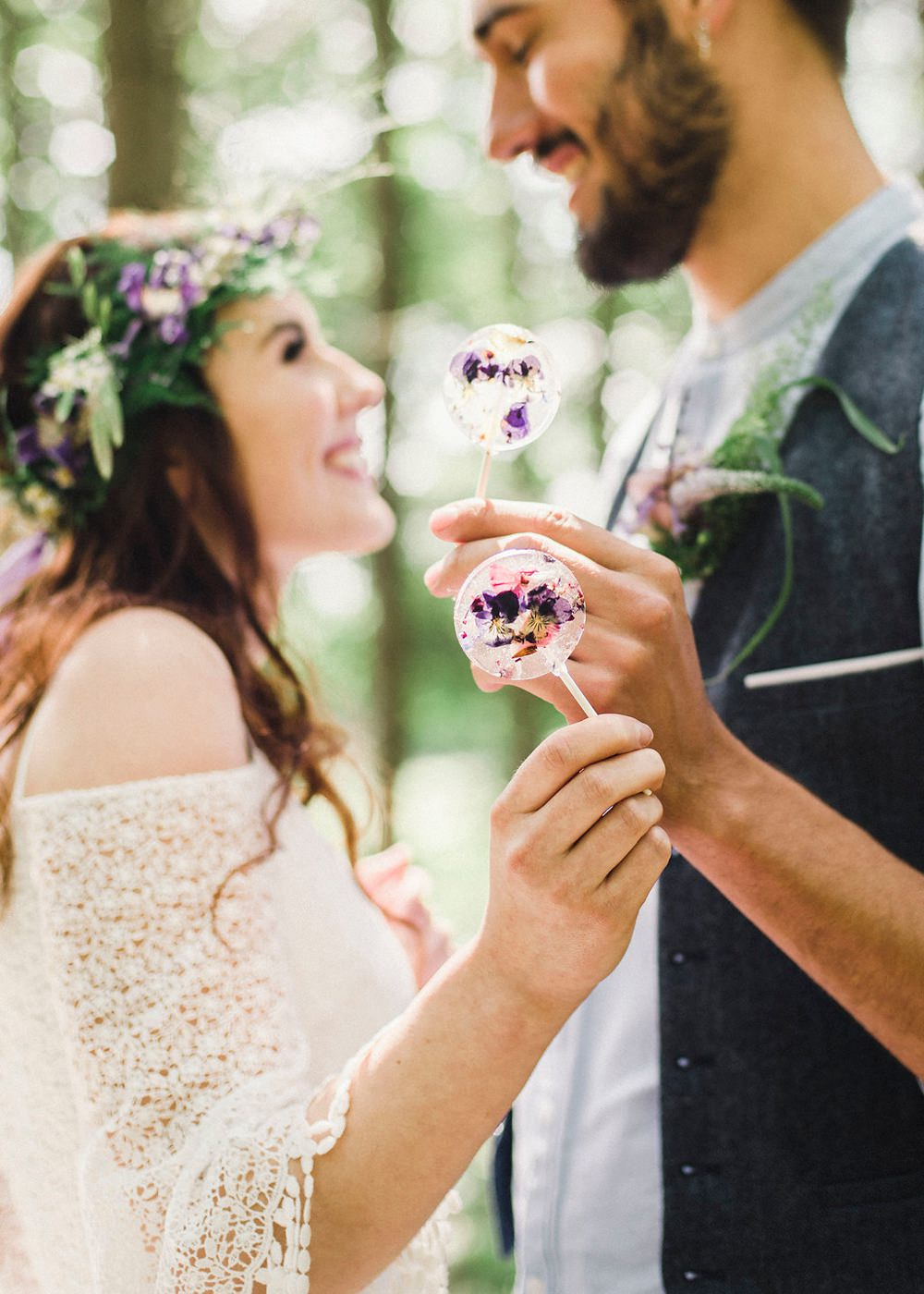 Flower Lollies Boho Woodland Wedding Ideas Camp Katur Emily Olivia Photography