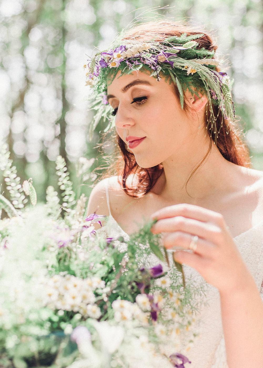 Bride Bridal Flowers Bouquet Greenery Foliage Purple Rose Daisy Wild Boho Woodland Wedding Ideas Camp Katur Emily Olivia Photography