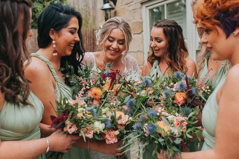 Bouquet Flowers Bride Bridal Orange Pink Dahlia Thistle Astilbe Rose Bridesmaids Crab Lobster Wedding A Little Picture