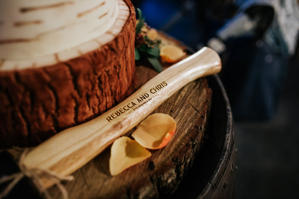 Cake Log Wood Slice Axe Cubley Hall Wedding Photography by Charli