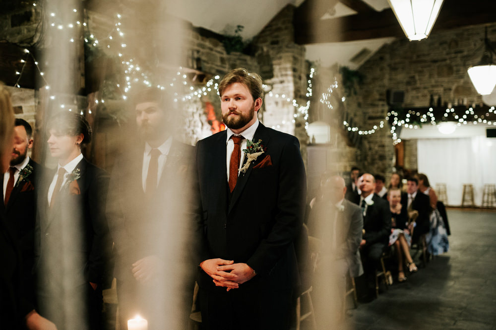 Groom Black Suit Orange Tie Cubley Hall Wedding Photography by Charli