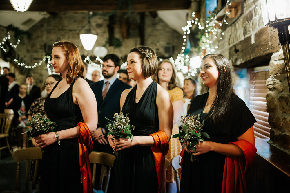 Forest Green Multiway Bridesmaids Dress Burnt Orange Shawl Cubley Hall Wedding Photography by Charli