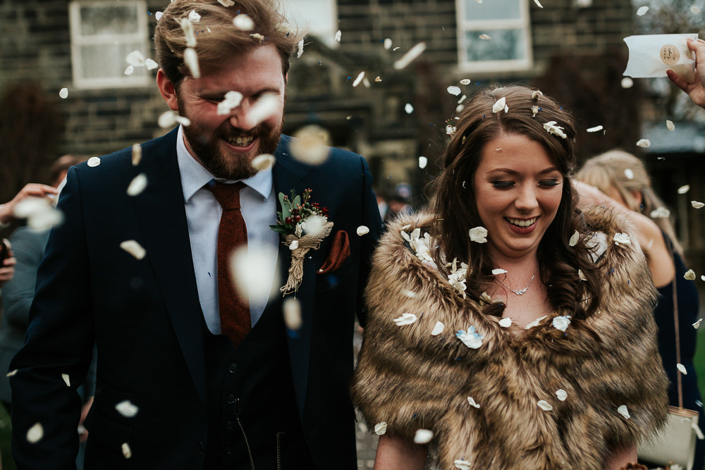 Bride Bridal Dress Cape Sleeve V Neck Lace Embellished Groom Burnt Orange Tie Black Suit Fur Cape Stole Confetti Cubley Hall Wedding Photography by Charli