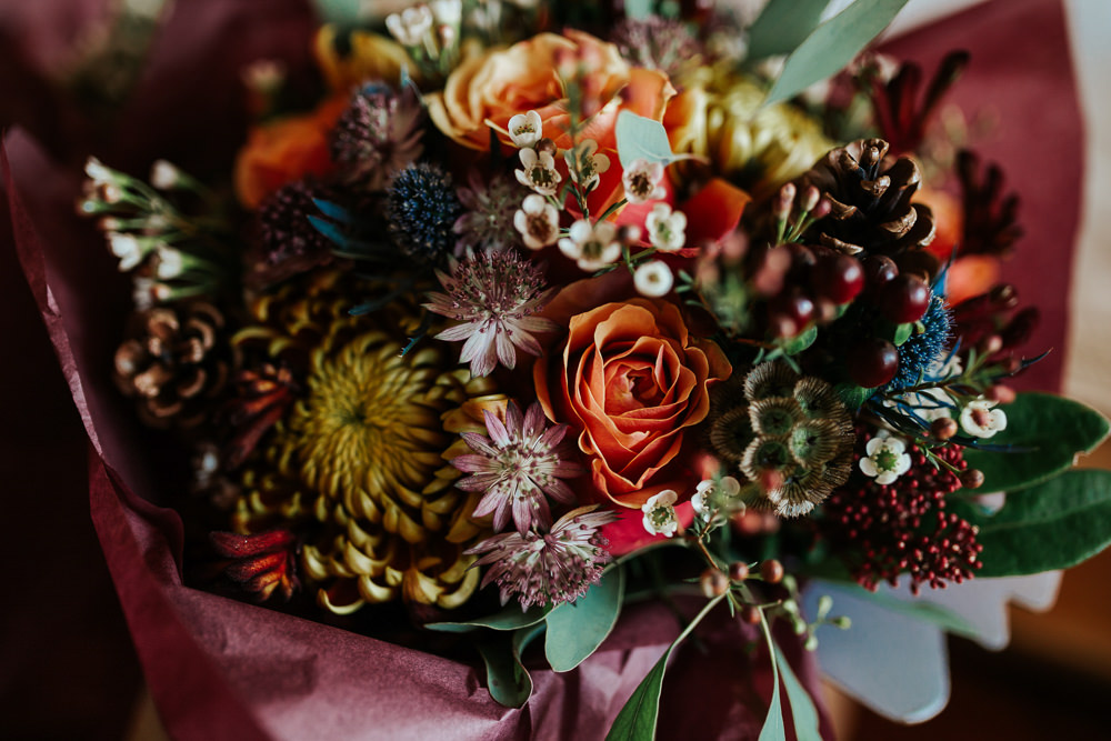 Flowers Floral Wax Flowers Rose Orange Burgundy Cubley Hall Wedding Photography by Charli