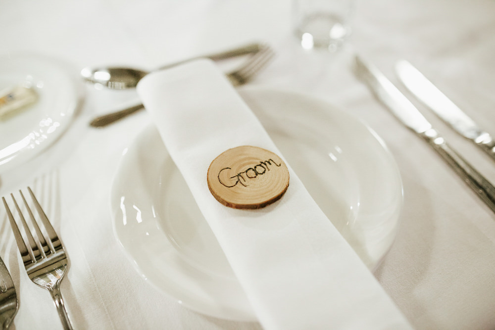Place Card Wood Slice Cubley Hall Wedding Photography by Charli