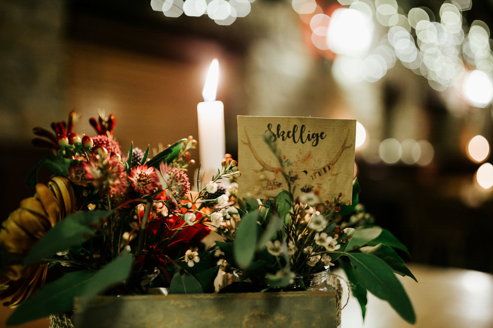 Table Centre Floral Wax Flower Candle Table Name Cubley Hall Wedding Photography by Charli