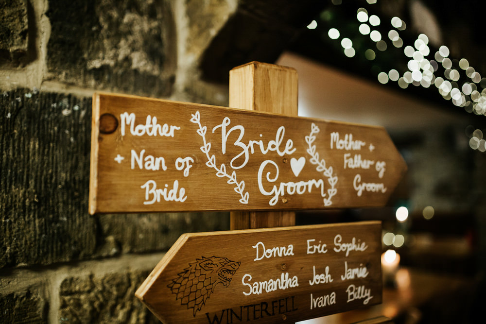 Signage Sign Direction Wooden Post Calligraphy Cubley Hall Wedding Photography by Charli