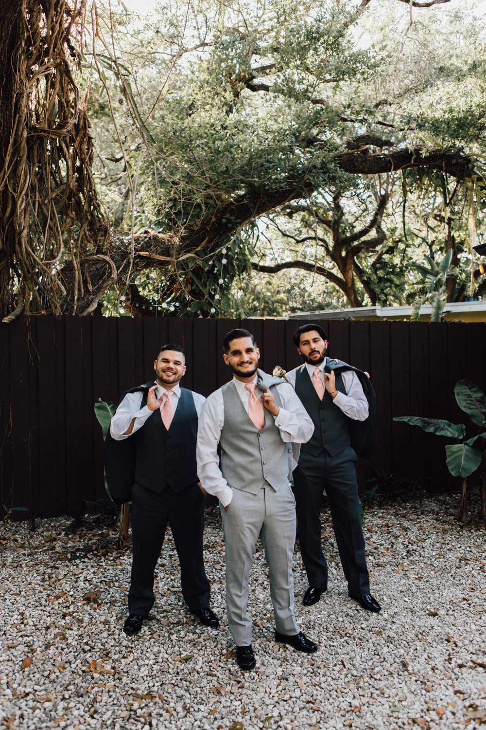 Groomsmen Groom Suits Grey Pink Ties Navy Emotional Outdoor Wedding Laura Memory Photography