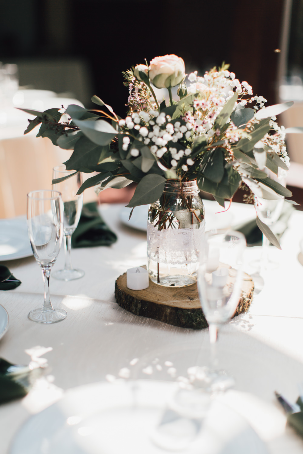 Table Centrepiece Flowers Jar Log Slice Greenery Foliage Peony Emotional Outdoor Wedding Laura Memory Photography