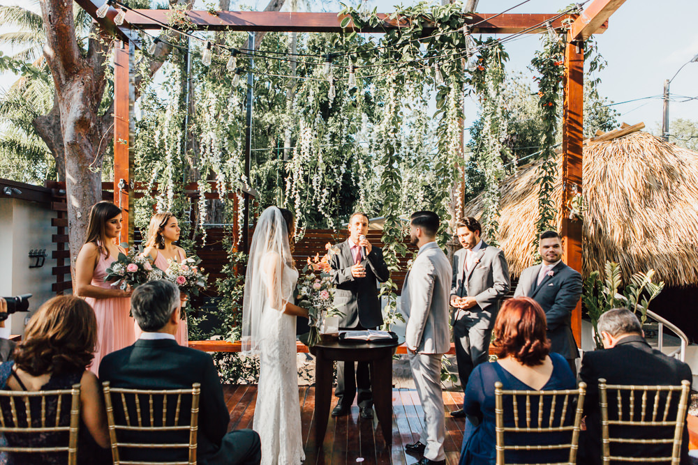Ceremony Arbour Greenery Foliage Backdrop Emotional Outdoor Wedding Laura Memory Photography