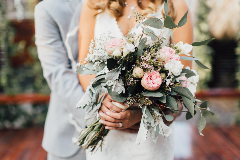 Bouquet Flowers Bride Bridal Peony Greenery Foliage Pink Gypsophila Emotional Outdoor Wedding Laura Memory Photography