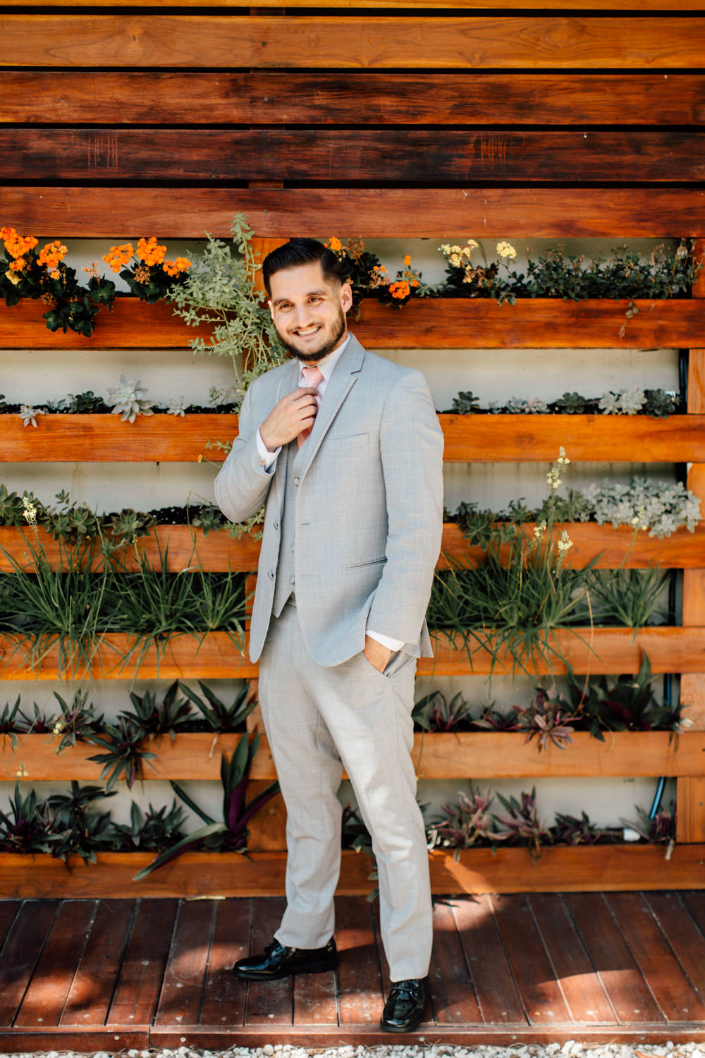 Grey Suit Groom Pink Tie Emotional Outdoor Wedding Laura Memory Photography