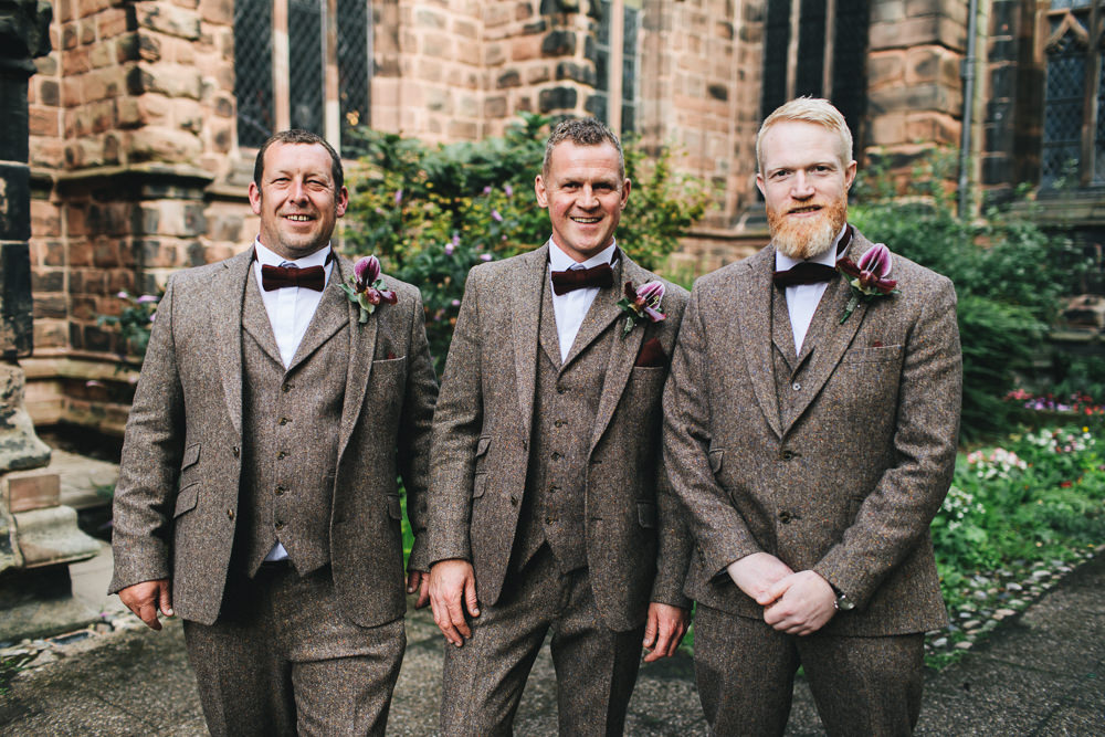 Tweed Suit Three Piece Waistcoat Groom Bow Tie Groomsmen Floral Farm Wedding Jessica O'Shaughnessy Photography