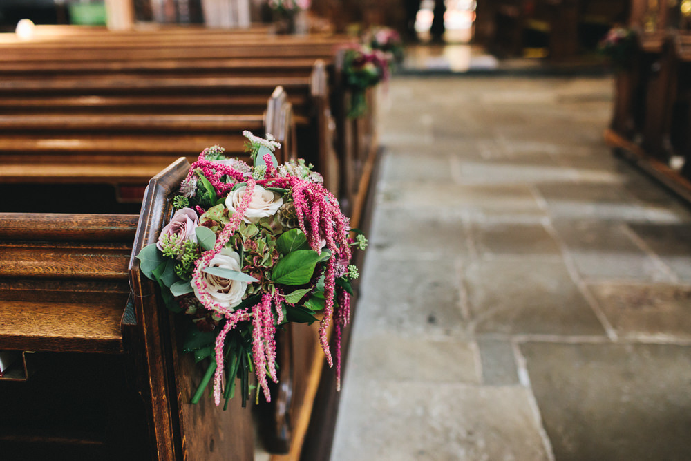 Pew End Flowers Bouquet Aisle Floral Farm Wedding Jessica O'Shaughnessy Photography