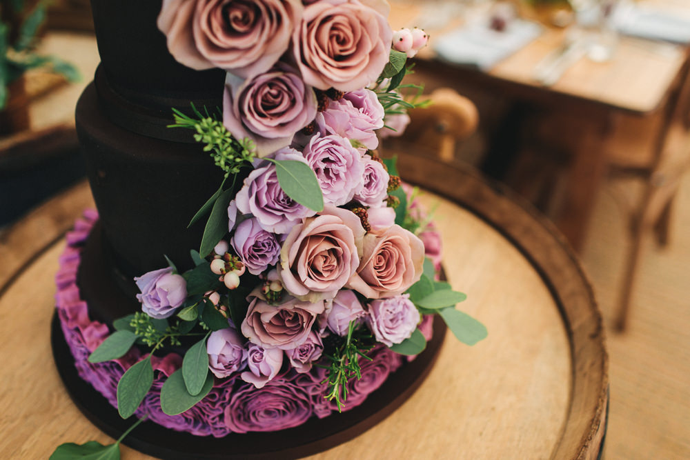 Tired Cake Ruffles Flowers Pink Rose Floral Farm Wedding Jessica O'Shaughnessy Photography