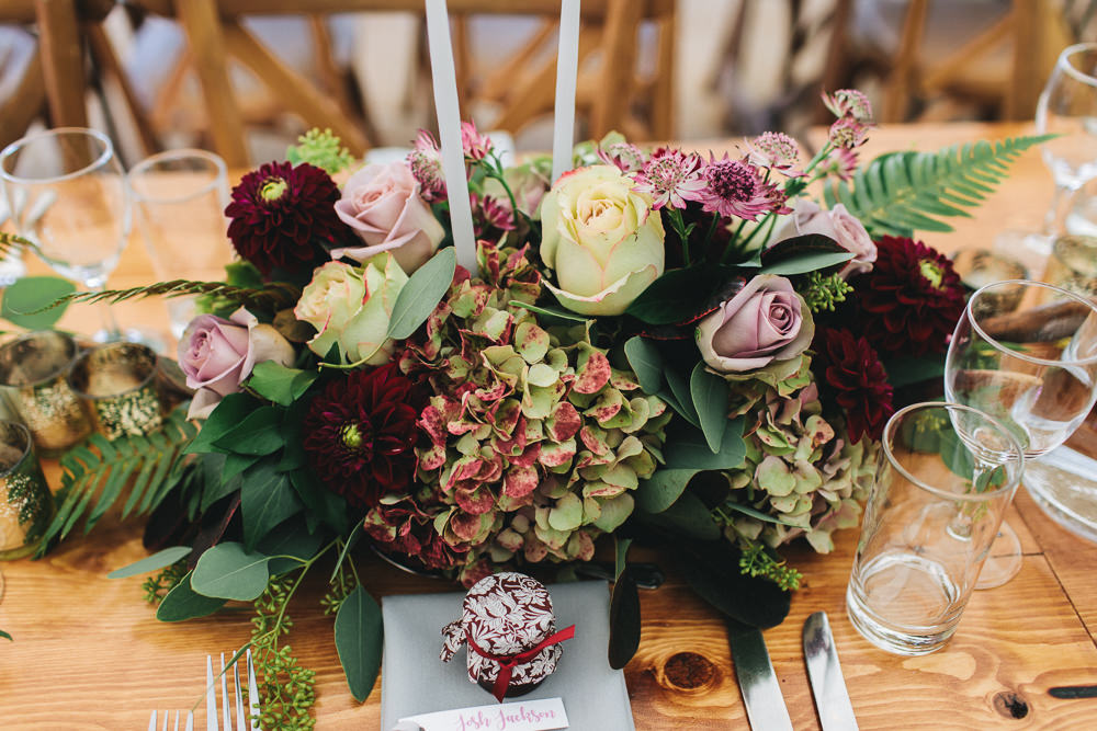 Flowers Rose Pink Burgundy Fern Centrepiece Table Centre Floral Farm Wedding Jessica O'Shaughnessy Photography