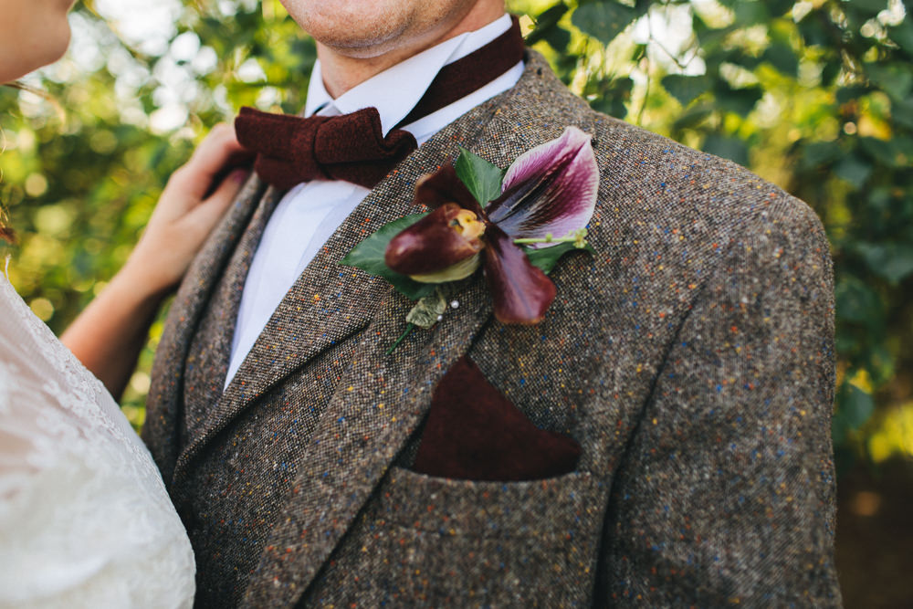 Tweed Three Piece Waistcoat Groom Buttonhole Bow Tie Floral Farm Wedding Jessica O'Shaughnessy Photography