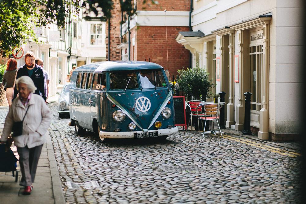 VW Campervan Transport Vintage Floral Farm Wedding Jessica O'Shaughnessy Photography