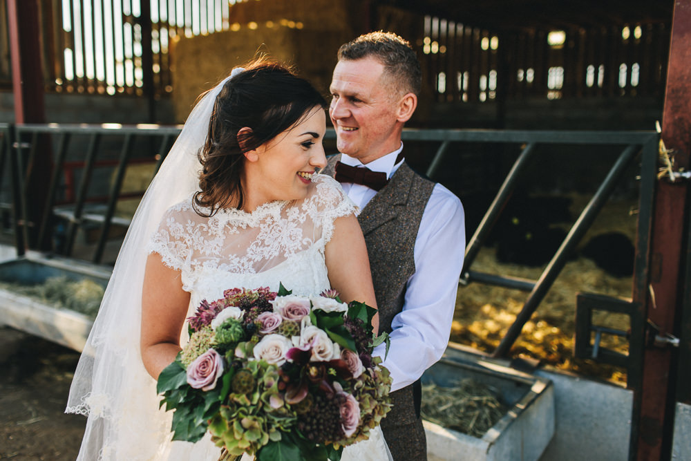 Bride Bridal Short Sleeve Lace A Line Dress Gown Tweed Suit Bow Time Groom Bouquet Floral Farm Wedding Jessica O'Shaughnessy Photography