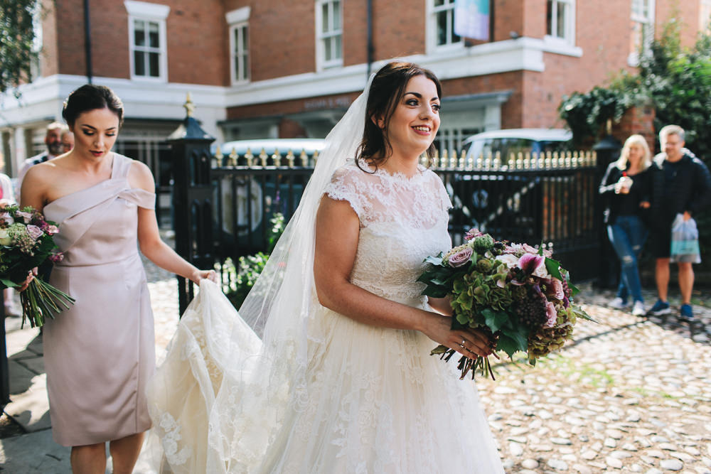 Bride Bridal Short Sleeve Lace A Line Dress Gown Reiss Mushroom Dress One Shoulder Bouquet Floral Farm Wedding Jessica O'Shaughnessy Photography