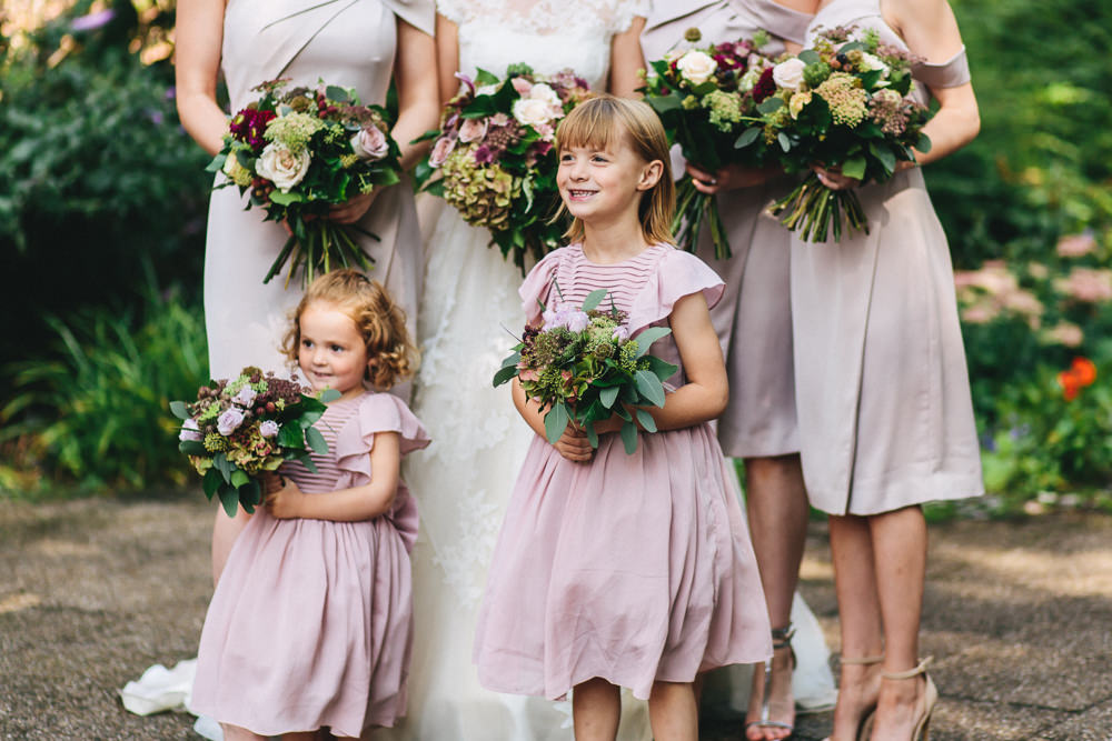 Bridesmaids Flower Girls Pink Mushroom Bouquet Floral Farm Wedding Jessica O'Shaughnessy Photography